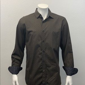 English Laundry Brown Black Spotted LS Shirt MD